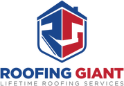Roofing Giant logo. Blue and red like the colors of the American flag. RG inside a house like figure. Lifetime roofing services is a slogan under Roofing Giant logo.